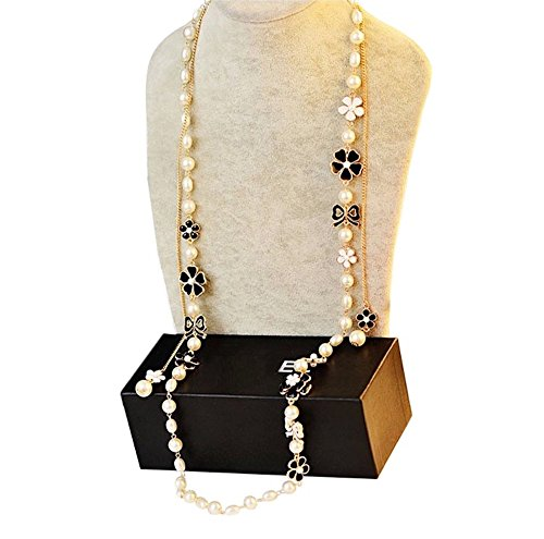 MISASHA Fashion Jewelry Faux Imitation Pearl Black Bowknot Charm (Chanel Inspired Earrings)