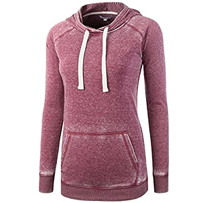 Vetemin Women Casual Basic Cotton/Poly Vintage Soft Long Sleeve Hoodies Sweater