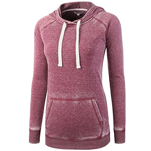 Vetemin Women Basic Cotton/Poly Burnout Soft Fleece Long Sleeve Hoodies Sweater Heather Wine L