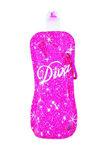 Sharkskinzz 16oz Collapsible, Folding, Eco-friendly, Hydration Water Bottle. Weighs up to 80 Percent Less Than Hard Plastic Bottles. Durable 3 Ply Construction Set of 3 Bottles (Diva)