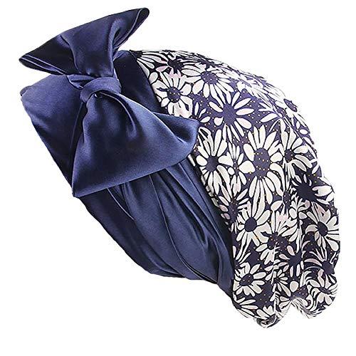 Soft Satin Head Scarf Sleeping Cap Hair Covers Turbans Bonnet Headwear for Women (Blue Daisy)
