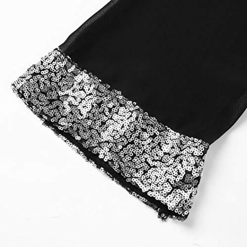 Casual Tops Maniche A Con donna V Cuciture Camicie Mini Nero Paillettes shirt Lunghe Abcone Pullover T Scollo Abito E Felpa Autunno Camicette Elegante qfRw1p4g