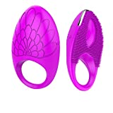 CHYEA Vibrators Massagers Cock Rings Wireless Penis Rings Dual Motors Drive Rechargeable 20 Modes Waterproof Penis C-Ring Pro Body Silicone Sex Toy with Free Premium Controller For Couples - Purple