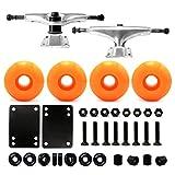 5.0 Skateboard Trucks (Silver) , Skateboard wheels 52mm, Skateboard Bearings, Skateboard Pads, Skateboard Hardware 1' (52mm Neon orange)