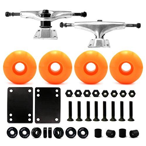 5.0 Skateboard Trucks (Silver) , Skateboard wheels 52mm, Skateboard Bearings, Skateboard Pads, Skateboard Hardware 1
