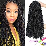 7 Packs Passion Twist Hair 18 Inch Water Wave Synthetic Braids for Passion Twist Crochet Braiding Hair Goddess Locs Long Bohemian Locs Hair (22Strands/Pack, 1B#)