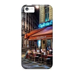 Anti-scratch And Shatterproof Paris Street Corner Coffee Phone Case For Iphone 5c/ High Quality Tpu Case