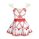 CHICTRY Girls' Princess Felicie Cosplay Dresses Ballerina Tutu Dance Leap Skirt Costumes White&Red 3-4T