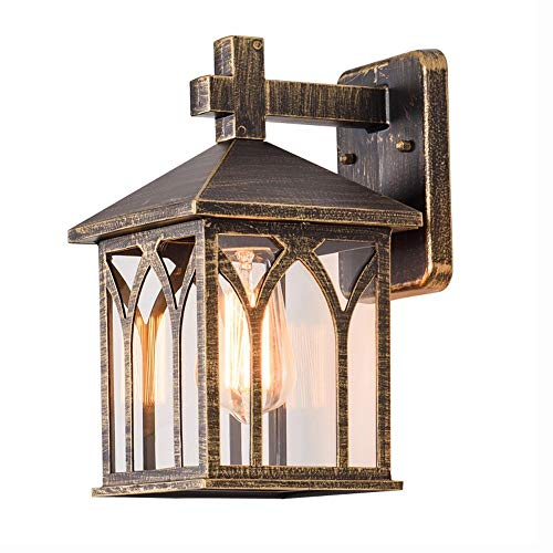 TheMonday Waterproof Rustproof Outdoor Wall Light Sconce with Glass Shade Classic Antique Single Head E27 Metal Wall Lamp for Garden Party Bar Villa Outdoor Safety Lighting (Color : Bronze)