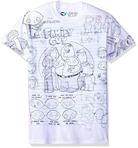 Liquid Blue Men's Family Guy Sketch All Over Print Short Sleeve T-Shirt, White, (Family Short Sleeve Tees)