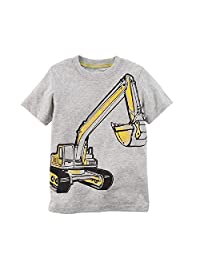 Hooyi Baby Boy Yellow Digger T-Shirts Children Tee Shirts Short Sleeve Blouse
