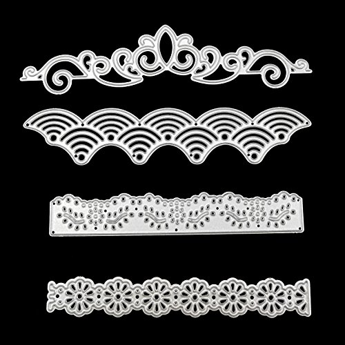 4 Pcs Metal Embossing Lace Cutting Dies Stencils Scrapbooking Dies Cuts for DIY Crafts New Year, Wedding, Valentines, Present Greeting Cards Albums Decoration Flower by SKYCOOOOL