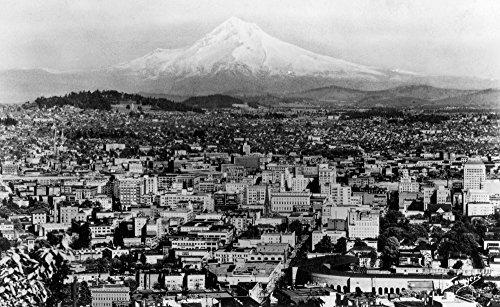 (Mount Hood View from Portland, Oregon - Vintage Photograph (12x18 Art Print, Wall Decor Travel Poster))