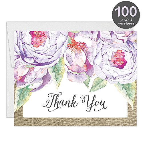 All Occasion Invitations & Folded Thank You Cards Matching Set with Envelopes ( 100 of Each ) Beautiful for Bridal Shower Engagement Birthday Party Fill-in Invites & Thank You Notes Best Value Pair by Digibuddha (Image #4)