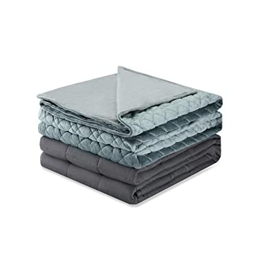 Weighted Idea Soft Weighted Blanket with Removable Cover Adult 15 lbs (60''x80'', Grey Rhombus)