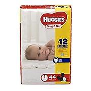 HUGGIES Snug & Dry Diapers, Size 1, 44 Count, JUMBO PACK (Packaging May Vary)