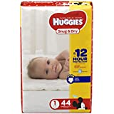 HUGGIES Snug & Dry Diapers, Size 1, 44 Count, JUMBO...