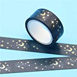 Culturemart 1 Pc/Pack Black Moon Stars Washi Paper Masking Tapes 1.5cm X 5m DIY Scrapbooking Heart Stickers Gift Wrapping Sticker