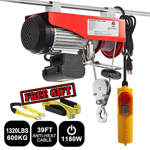 Partsam 1320 lbs Lift Electric Hoist Crane Remote Control Power System, Zinc-Plated Steel Wire Overhead Crane Garage Ceiling Pulley Winch with Premium 6