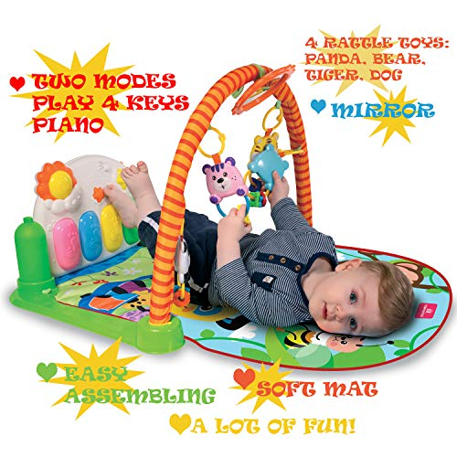 Tapiona Baby Activity Play Gym – Kick and Play Baby Mat, Baby Toys 0-3, 3-6 Months and Mirror, Boy and Girl Newborn Gift, Lay and Play, Sit and Play, Tummy Time