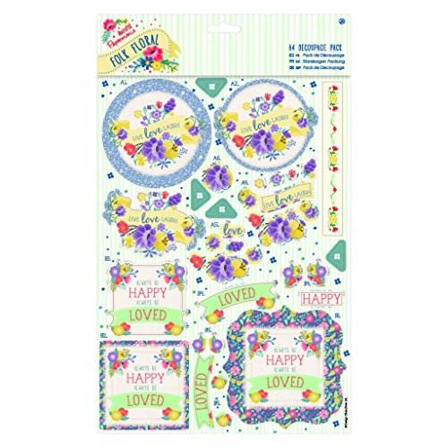 Folk Floral (Papermania) A4 Decoupage Topper Pack - Laugh
