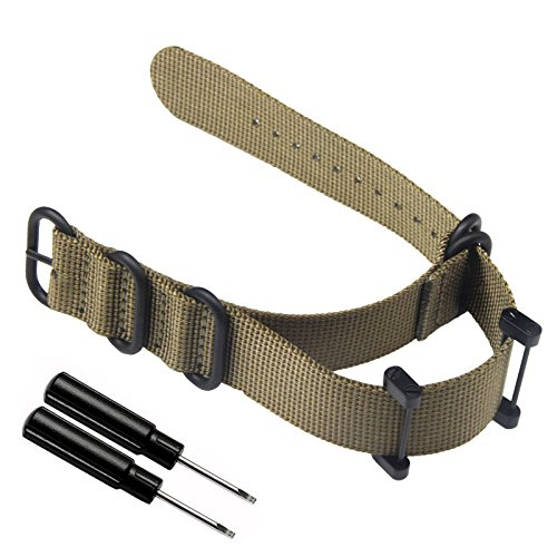 Feicuan 24mm Watch strap Nylon NATO Watchbands Replacement Watch Straps for Suunto Core,Stainless Buckle with Spring Bar Tool -Khaki