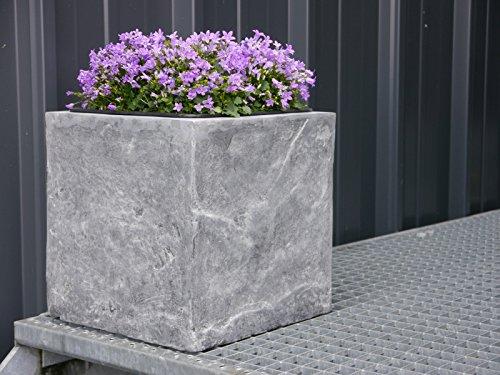 Großer Pflanzkübel NATURO aus Fiberglas wie Naturstein 50x50x50cm in grau, Blumenkübel, Pflanzgefäße, Pflanztöpfe, Übertöpfe
