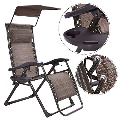 Foldable Zero Gravity Chair Lounge Patio Outdoor Yard Recliner w/ ()