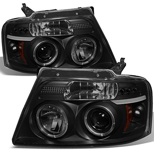 Ford F150 F-150 Pickup Black Smoke Dual Halo LED G2 Projector Headlights Front Lamps Replacement