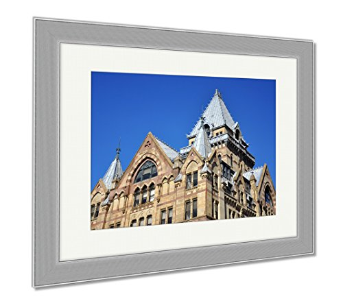 Ashley Framed Prints Syracuse Savings Bank Building Was Built In 1876 With Gothic Style At Clinton, Wall Art Home Decoration, Color, 34x40 (frame size), Silver Frame, AG6086059 (New America York Bank Syracuse Of)