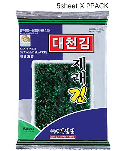 Korean Daecheon Snacks Organic Premium Roasted Seaweed, Laver Gim 5 sheets X 2PACK
