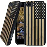 america phone case - Wood iPhone Case - iPhone 7 PLUS / iPhone 7 PLUS Case - WDPKR Wooden Phone Cover - UNIQUE High Contrast Black Painted Wood Bumper Accessory for Apple iPhone 7 PLUS (American Flag)