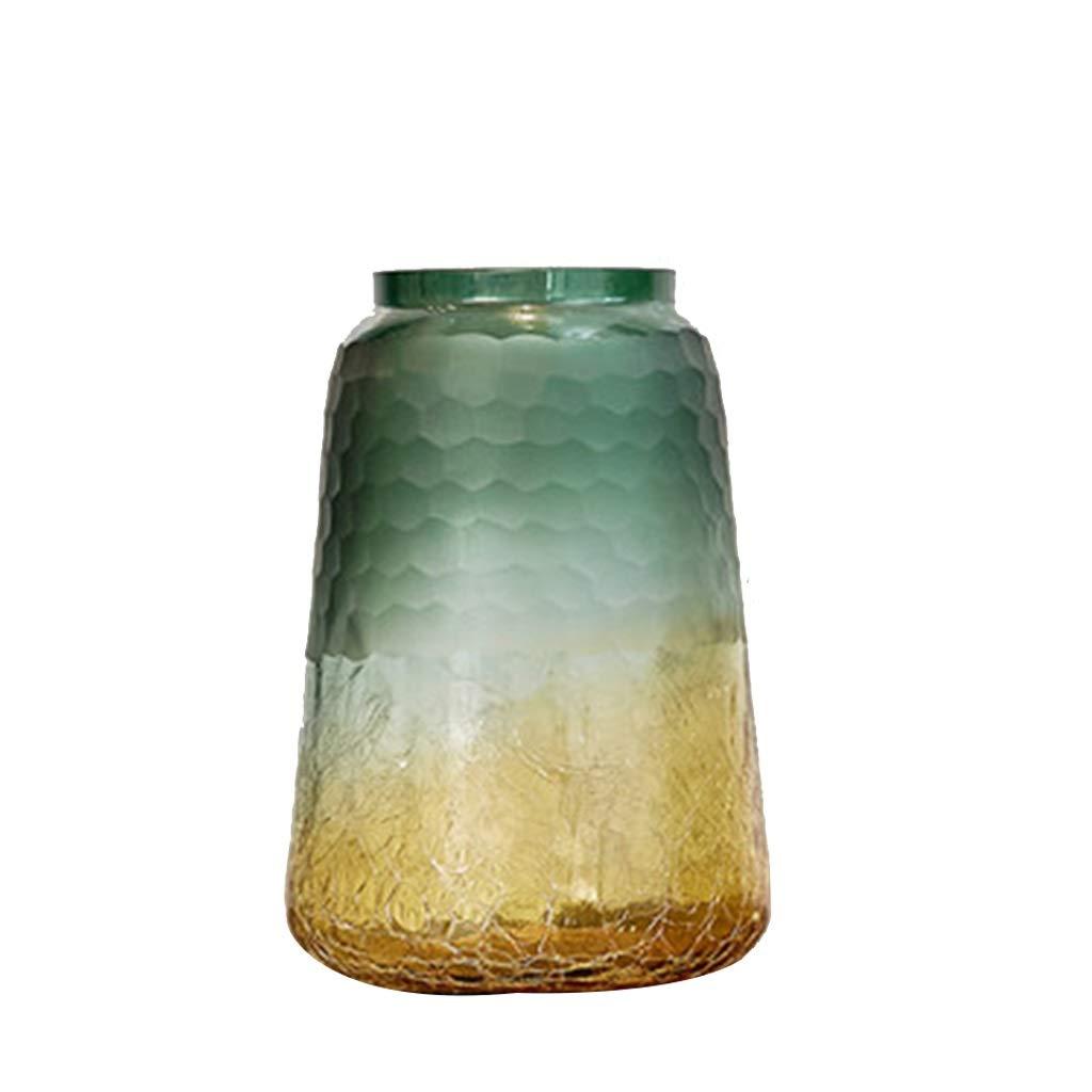 ガラス花瓶、モダンスタイルイエローグリーングラデーション透明な滑らかな工芸品フラワーアレンジメント装飾ホームリビングルームの寝室の理想的なギフト B07SG8CC5X