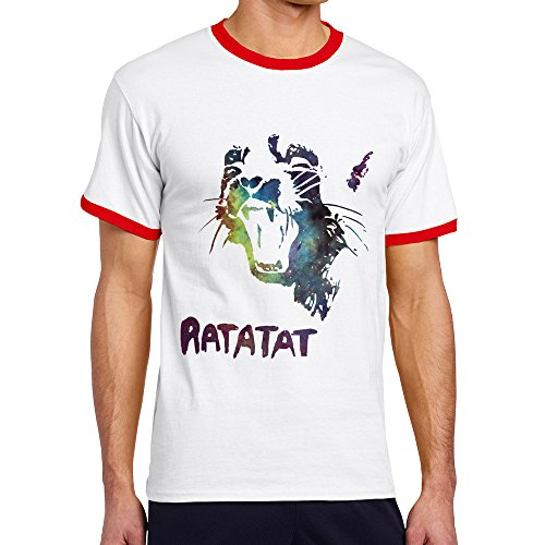 Men's Cool RATATAT Contrast Ringer Tshirt S Red ()