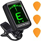 Guitar Tuner, Atmoko Clip-on Tuner for Guitar, Ukulele, Violin, Larger LCD Display, Battery & 3 Guitar Picks for Lifetime Use &User Manual Included