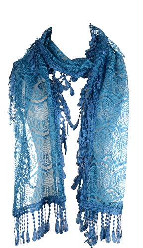 BYOS Womens Delicate Victoria Vintage Inspired Fan Pattern Lace Scarf (Blue)