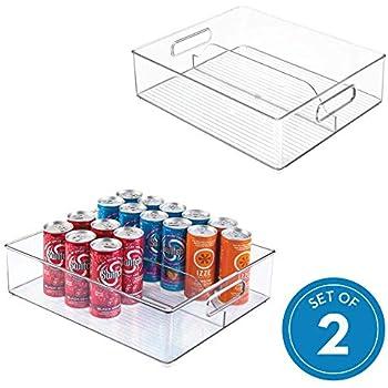 iDesign Plastic Fridge and Freezer Divided Storage Organizer Bin With Handles, Bin for Food, Drinks, Produce Organization, BPA-Free, 12