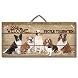 Dogs Welcome People Tolerated Reclaimed Pallet Wood Sign - Made in USA!
