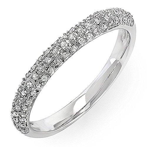 Dazzlingrock Collection 0.25 Carat (ctw) 18k Round Diamond Ladies Pave Anniversary Wedding Band Stackable Ring 1/4 CT, White Gold, Size 7.5 ()