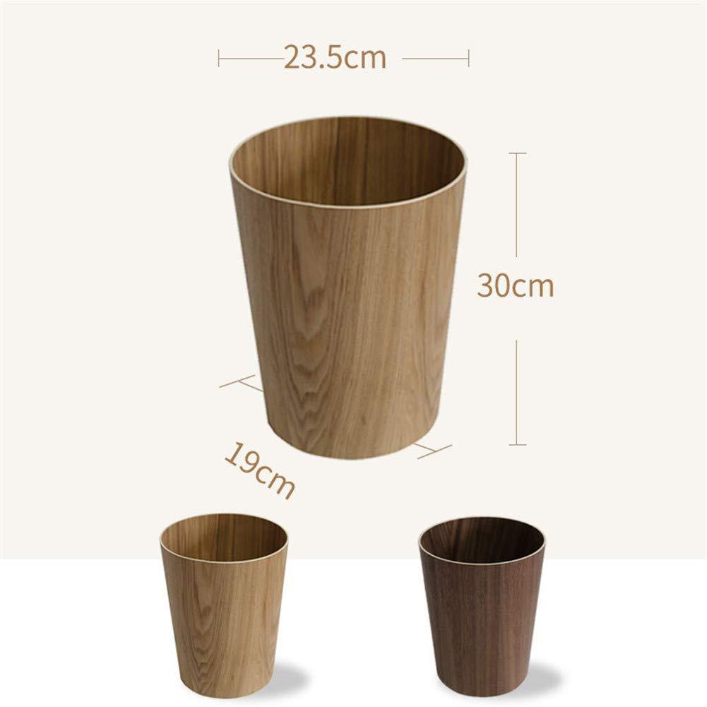 JFKLLL Wooden Waste Bin Wood Grain Simple Creative Living Room Bedroom Office Storage Home Bathroom Waste Paper Basket walnut