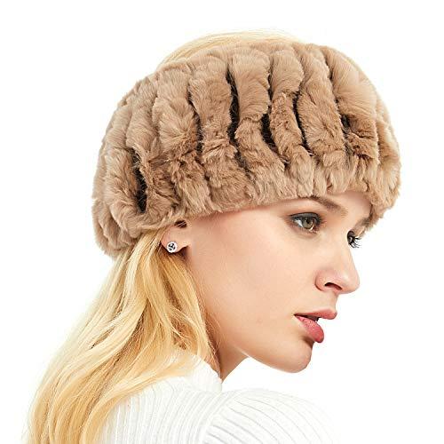 (IKEPOD Real Rabbit Fur headband, Cold Weather Ear warmer Hat Ski - Gray)