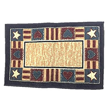 Americana Hearts Stars Stripes Throw Rug Mat 36 by 22
