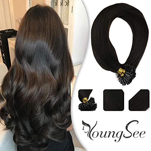 Youngsee 22inch Remy Utip Hair Extensions Real Human Hair Darkest Brown #2 100% Real Silk Straight Human Hair U Tip Extensions 1g/Strand 50g