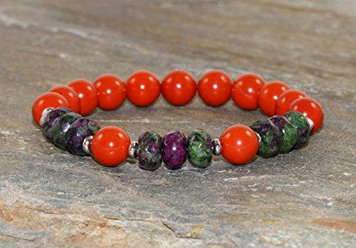 Red Jasper & Faceted Zoïsite Bracelet, Ruby In Zoisite, Yoga Bracelet, Gemstone Bracelet, Wrist Mala Beads, Healing Crystals, Yogi (Jasper Ruby Bracelet)