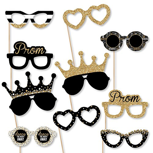 Prom Glasses - Paper Card Stock Prom Night Party Photo Booth Props Kit - 10 Count -