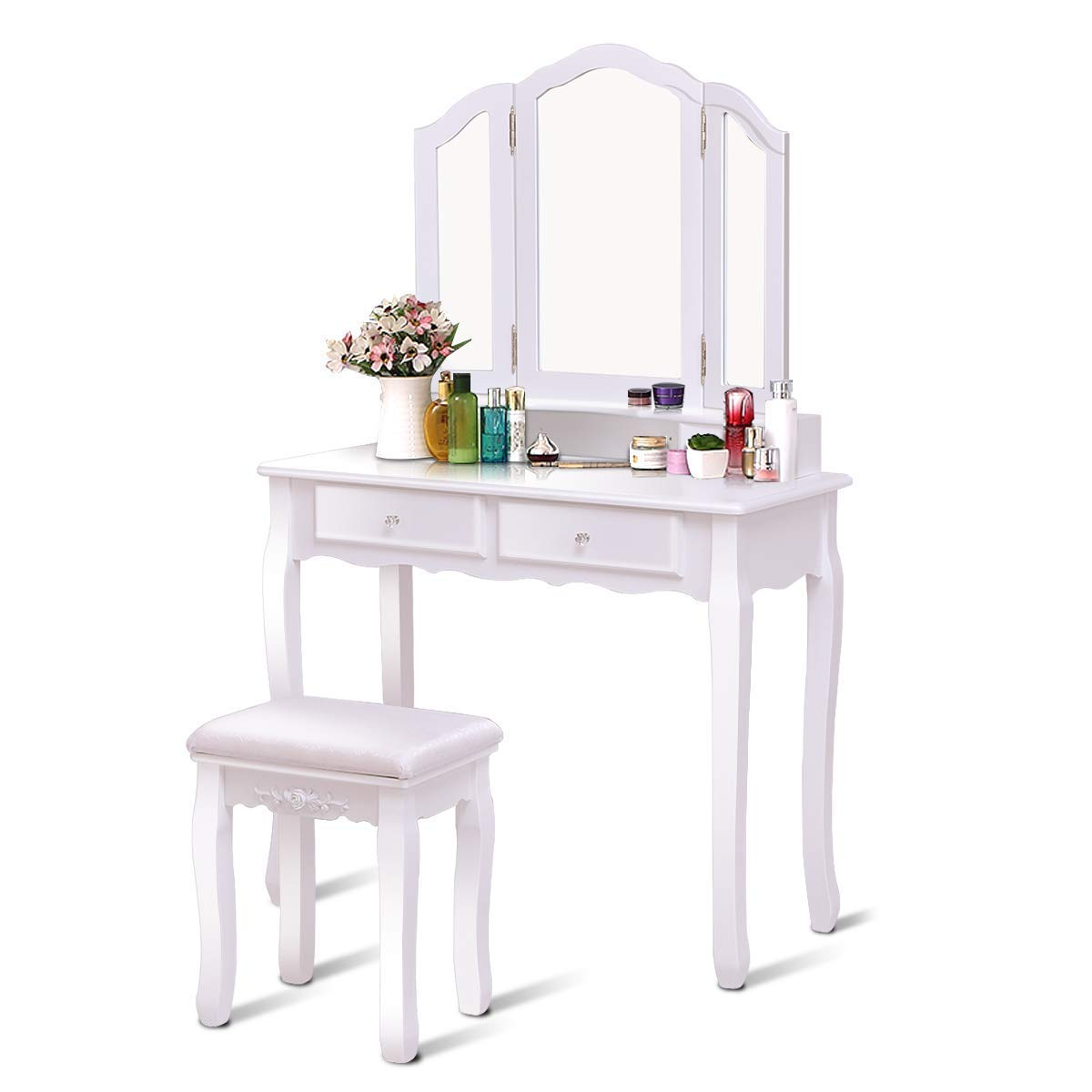 Amazon com casart tri folding mirror bathroom vanity makeup table stool set home furni with 4 drawers white kitchen dining