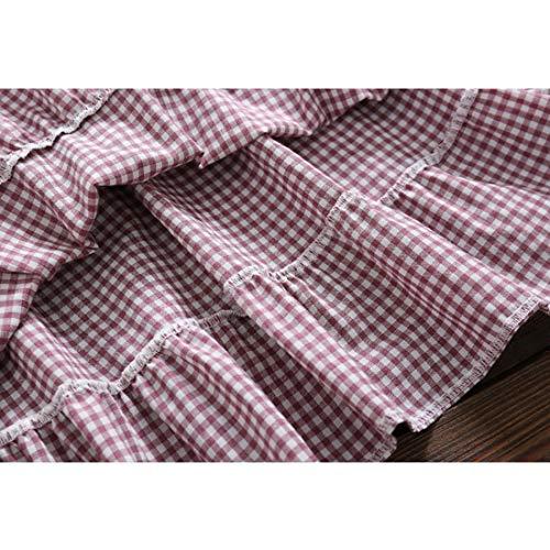 Manga Cyan Mujer S Encaje Size Relajándose ~ Kneeskirt Vestido Redondo Pink De Enrejado Joyiyuan Xxlsize Algodón color Larga Cuello S vaT7Sqq8W