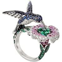 Siam panva Luxury 925 Silver Cocktail Party Ring Birds Flower Sapphire&Emerald Cz For Women (7)