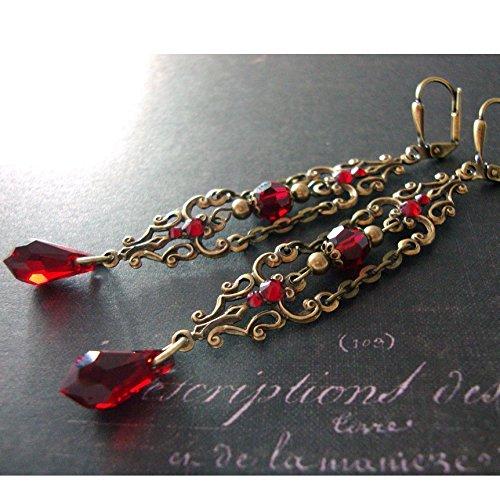 0d44655fb Amazon.com: Red Victorian Gothic Swarovski Crystal Extra Long Handmade  Vampire Earrings Antiqued Brass: Handmade
