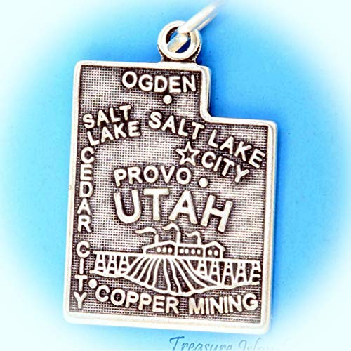 Utah State Map Salt Lake City Ogden Cedar .925 Solid Sterling Silver Charm Vintage Crafting Pendant Jewelry Making Supplies - DIY for Necklace Bracelet Accessories by CharmingSS